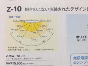 山田照明・Z-10の照度分布図