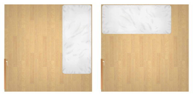 レイアウトは大きな家具からが基本⇒まずベッドを配置
