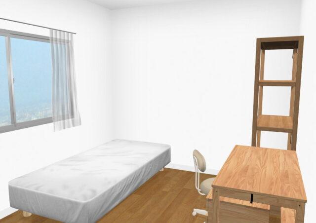 6畳間にベッドと学習家具をレイアウトしたレイアウトの一例