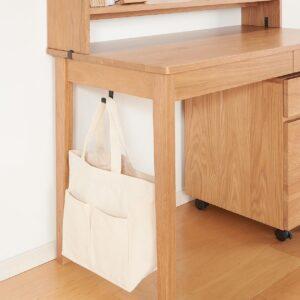 無印良品・木製デスク・オーク材 は足元棚だけでなく横桟もない