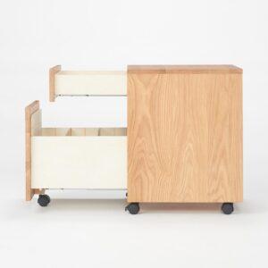 無印良品・木製デスクキャビネット・オーク材 底付けタイプのスライドレールに