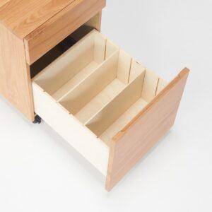 無印良品・木製デスクキャビネット・オーク材 引出内部材が桐から積層合板に