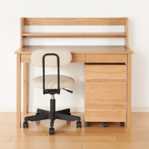 無印良品・木製デスク・オーク材+木製デスクキャビネット・オーク材+木製デスク用上置き棚・オーク材