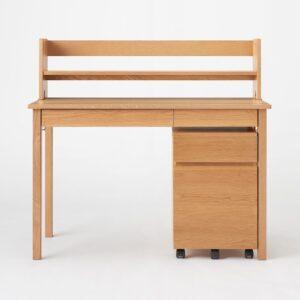 無印良品・木製デスク オーク材+木製デスク用上置き棚 オーク材突板+木製デスクキャビネット・オーク材